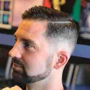 Hard Part Medium Fade Mens Haircut Judes Barber Shop