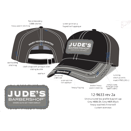 Frayed-Jude's-Black Gray Baseball-Hat