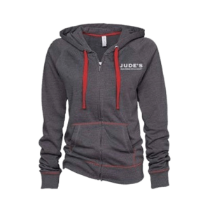 Unisex Red-Gray Zip-Up Hoodie